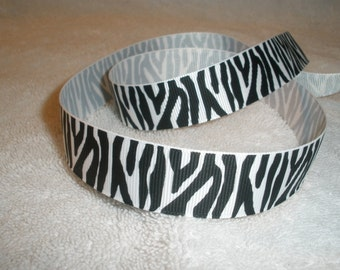 "Zebra Black and White Grosgrain Ribbon, 7/8"", 5 yards"