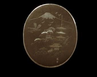 Black Japanese Damascene Brooch Large 1940's