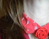 SALE Eyelet and Linen Rose Fabric necklace, red white satin ribbon ties rosette Peter Pan collar upcycled Valentine Prom Christmas gift