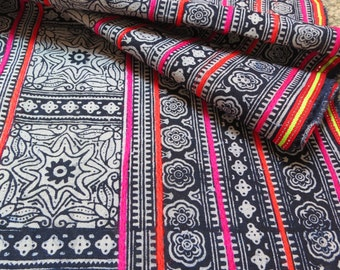 Handprinted  cotton Vintage style fabrics,  Indigo Blue, Hmong Batik, Table runner- from Thailand