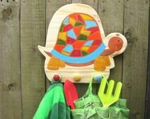 Children's Coat Hook, Children's Coat Pegs, Hand Painted Wooden Children's Coat Rack - Toprtoise Design. Free personalisation.