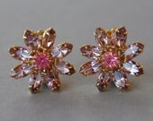 Vintage Rhinestone Clip On Earrings Pink Flowers Gold Tone Spring Jewelry Wedding Bridal Prom 1950's 1960's // Vintage Costume Jewelry