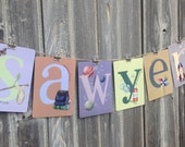 "Set of ANY 6 SIX LETTERS from the Young at Heart Collection Illustrated Alphabet 5"" X 7"" ~ Name or Word Garland Banner Frame-able"