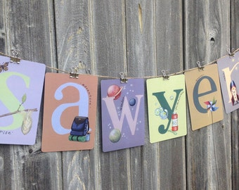 """Set of ANY 6 SIX LETTERS from the Young at Heart Collection Illustrated Alphabet 5"""" X 7"""" ~ Name or Word Garland Banner Frame-able"""