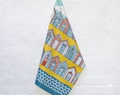 Beach Huts coastal tea towel - designed by Jessica Hogarth Designs and printed in the UK.