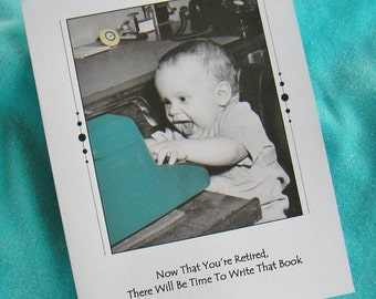 Retirement Congratulations Greeting Card!  Mid Century Photo With Vintage Typewriter And Happy Child