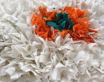 Shag Rag Throw Rug White With Orange and Teal
