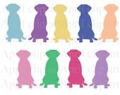 Silhouette Lab sitting, Labrador Dog, Clipart, Digital Clip Art, Digital scrapbooking, card making, invitations