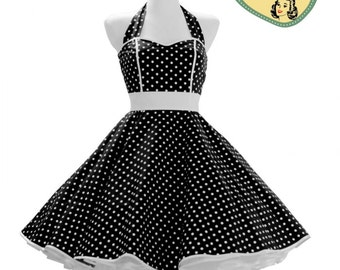 50's vintage dress full skirt black white polka dots sweetheart Tailor Made after your measurements #0014