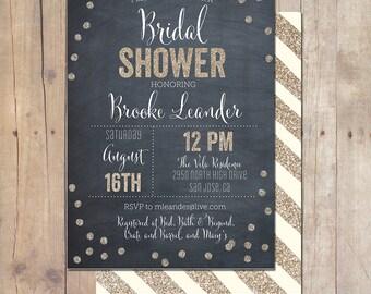Whimsical Gold Metallic Glitter Chalkboard Bridal Shower Invitation Invite Printable OR Printed Card