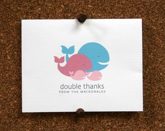 Whale thank you card | Etsy