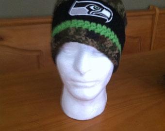 Camo/Army Seattle Seahawks beanie!