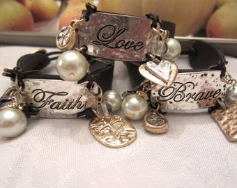 Brave Faith Love Leather Single Wrap Bracelet Hand Stamped with Charms