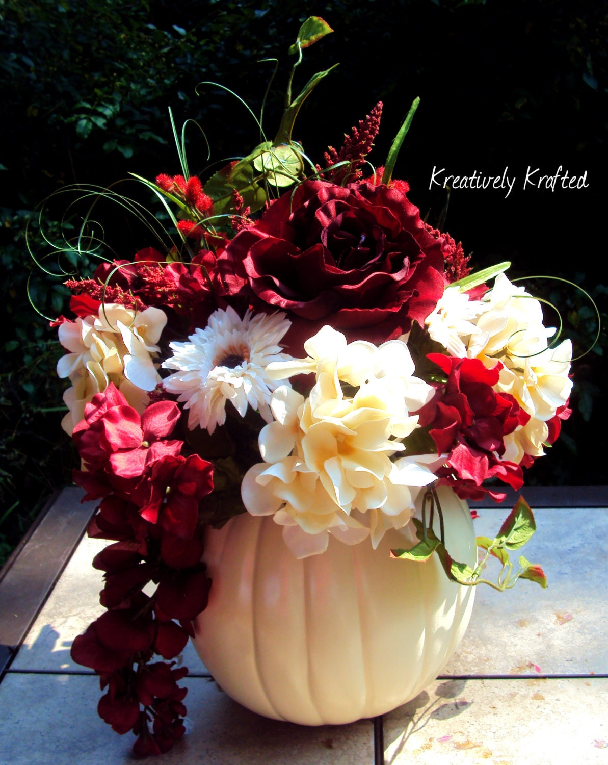 White cream red floral silk flowers pumpkin by
