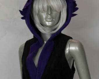 Purple Wolf Cropped Hood