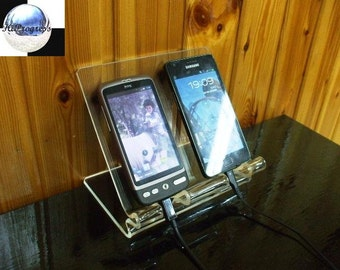 Desktop Universal Dual Holder Stand Display for Two (2) Couple Smartphones