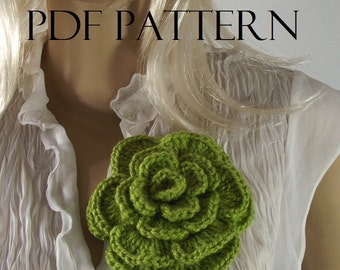 CROCHET FLOWER PATTERN Flower pin Crochet Rose Flower Brooch Pattern Pin Embellishment pdf pattern instant download