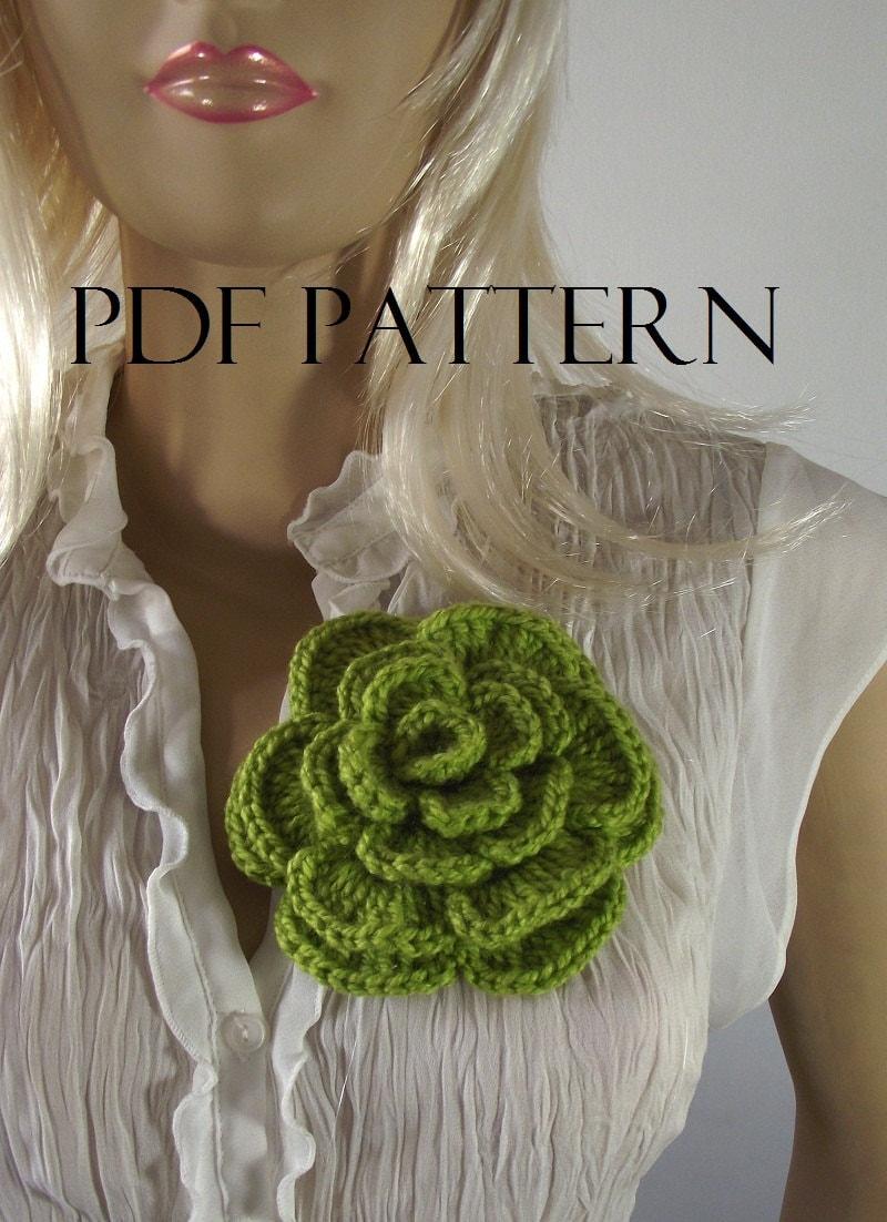 CROCHET FLOWER PATTERN Flower pin Crochet Rose Flower Brooch
