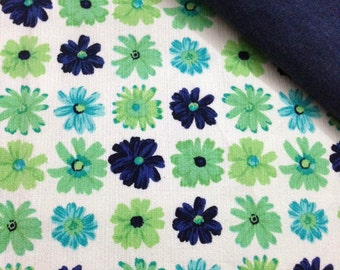 Wrap conversion mei tai from Floral Daisies Printed Canvas with blue denim