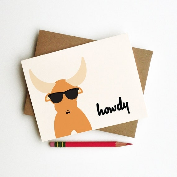 howdy hipster longhorn bull howdy sunglasses doodle card totem animal in rayban sunglasses