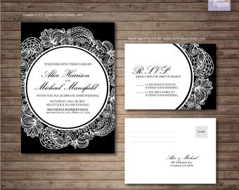 Elegant Vintage Wedding Invitation printables, Customized DIY, RSVP post card