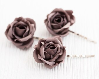 72_Brown hair flower, Bridal hair accessories, Chocolate wedding, Hair clips, Roses, Dark hair flower, Hair flowers, Pins wedding, For her