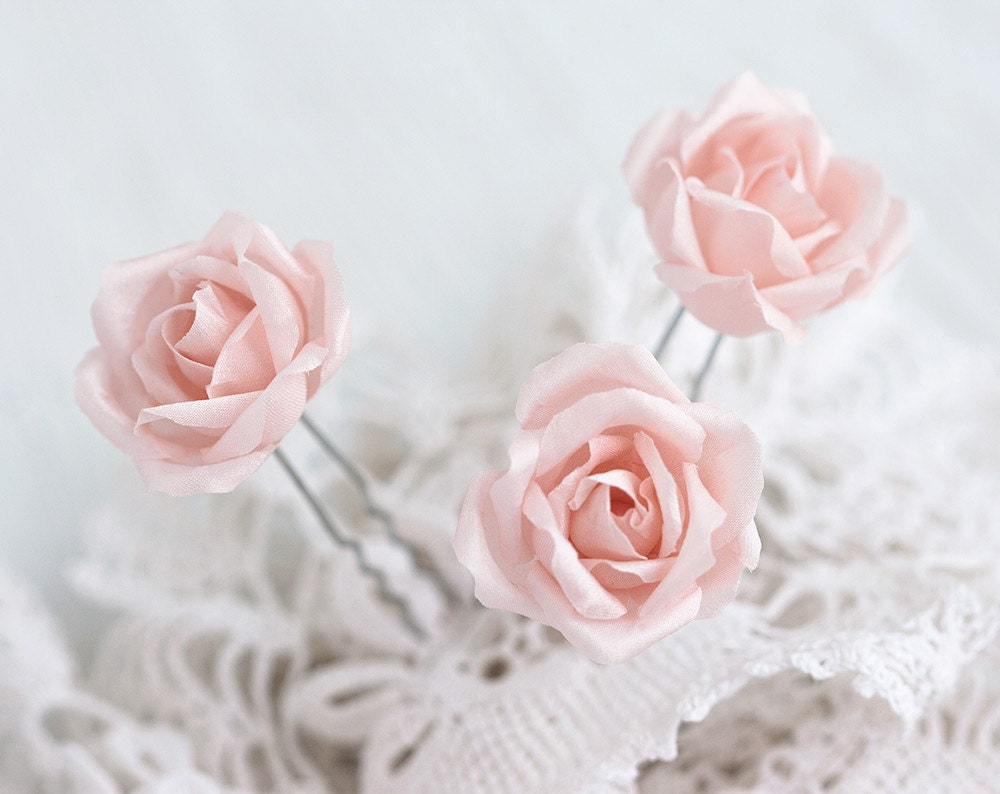 Wedding Hair Flowers Pink : Pink hair flowers accessories roses wedding