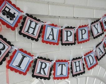 Train banner-Train-Choo Choo-Vintage Train-Train Happy Birthday banner-vintage train-Red blue and Black