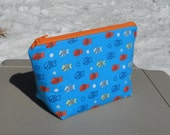 SALE- Small Makeup Bag, Cosmetic Bag, Fish, One of a Kind
