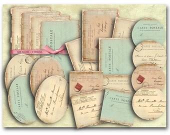 Digital Collage Sheet Download - Carte Postale Postcards Kit -  801  - Digital Paper - Instant Download Printables