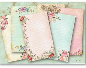 Digital Images - Digital Collage Sheet Download - Floral Note Cards -  697  - Digital Paper - Instant Download Printables
