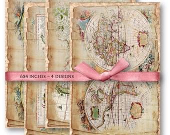 Digital Collage Sheet Download - Shabby World Maps -  846  - Digital Paper - Instant Download Printables