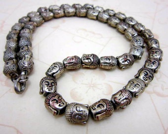 """CLEARANCE SALE Buddha head 22"""" long Asian necklace - oriental Chinese necklace"""
