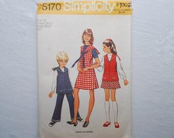 Vintage Childrens Simplicity Pattern # 5170....Size 10 Girls