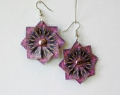 Origami Earrings Bohemian Jewelery - Boho Earrings Paper Jewelry - Paper Anniversary - Purple Origami Jewelry - 1st Anniversary Gift