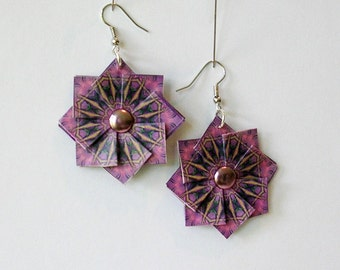 Origami Earrings - Boho Earrings Paper Jewelry - Paper Anniversary - Purple Origami Jewelry - 1st Anniversary Gift