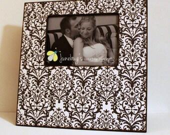 5x7 12x12 Large Picture Frame Black White Damask