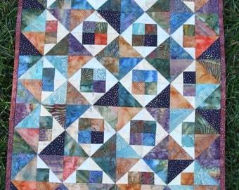 "Wall Hanging - ""Diamonds and Squares""-  Fall batiks- Handmade Wall Quilt"