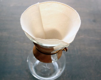 100% Organic Cotton Reusable Coffee Filters Chemex 6, 8, 10, 12 Cup Style -- Choose Your Quantity