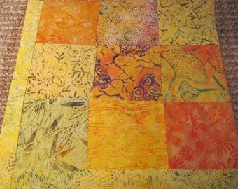 "14"" x 14"" Batiks Pillow COVER - 9 Fire Orange Sunset Squares with Vibrant Nature Surrounding Forest Hawk Owl"