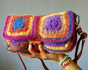 RAINBOW crochet granny square felted clutch and shoulder bag, shoulder bag, clutch, handbag, adjustable leather strap