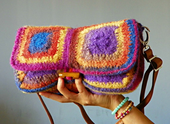 Crochet Rainbow Bag : RAINBOW crochet granny square felted clutch and shoulder bag, shoulder ...