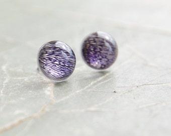 Petunia Petals stud earrings - 925 Sterling silver posts - navy blue resin studs - handmade resin jewelry