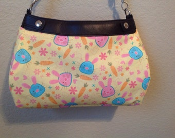 Thirty One Suite skirt purse cover Little Funny Bunnies Michael Miller