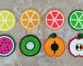 Set of 8 fruit-themed Perler bead coasters