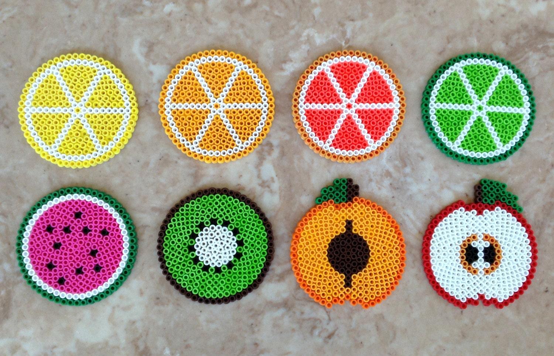 set of 8 fruit themed perler bead coasters