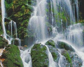Waterfall Cross Stitch Pattern Instant Download pdf