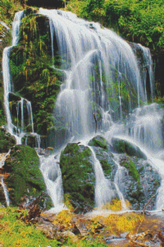 Waterfall cross stitch pattern instant download pdf for Waterfall design etsy