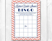 Bridal Shower Bingo Game. Print-it-Yourself Coral and Navy Bridal Shower Bingo Game.