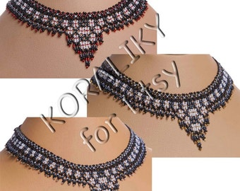 Ukrainian Handmade Necklace Gerdan: Black /White /RED or Black /White /GOLD or Black /White /SILVER.